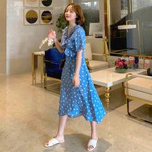 韩国 海岛度假风早准备 出游抢眼蓝色波点连衣裙