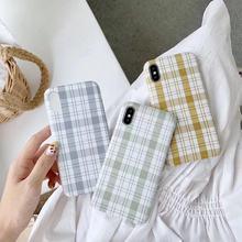 韩版iPhone格子手机壳保护套i6-imax软壳?#35270;胕7/i8四色清新优雅