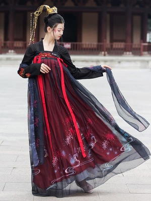 Chinese ming qing hanfu female adult ancient heavy industry embroidery Xianqi student