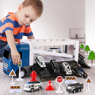 儿童益智早教货柜车玩具3-6岁男女孩故事灯光音乐收纳主题模型车