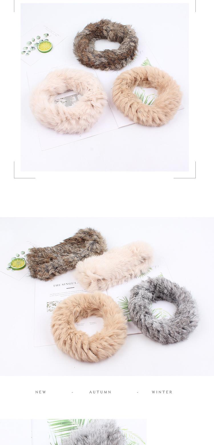 Rabbit fur hair band hat female winter warm Japanese headdress headgear fur retro hat plush wide-edged hair band NHXO182844