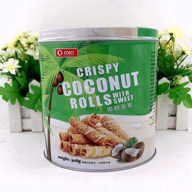 批发菲律宾进口 CoCo椰奶蛋卷 308g*12罐/箱