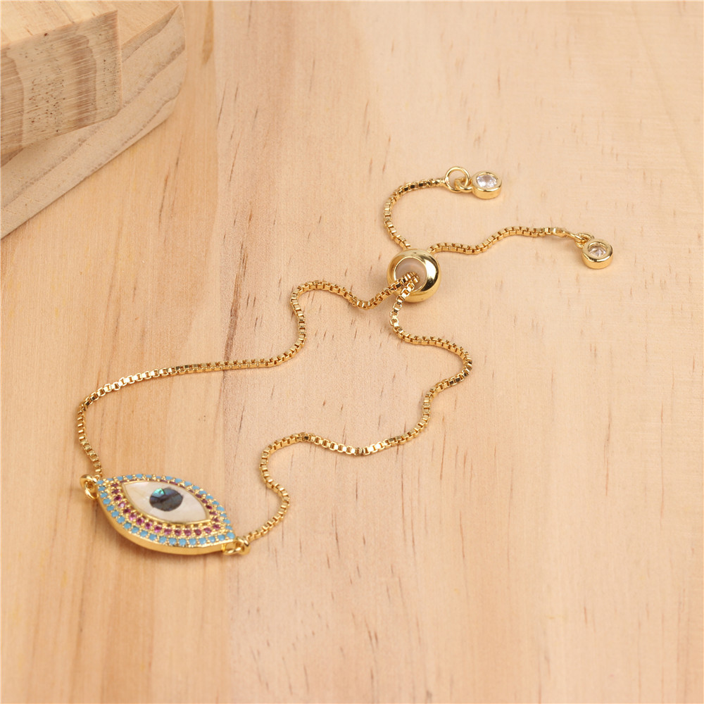 Colorful shell zircon micro-set shell eye bracelet NHPY156007