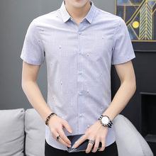 2019款夏季衬衫短袖男韩版潮流修身帅气精神小伙圆点男士衬衣批发