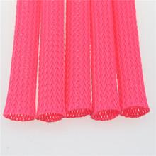 厂家热销黑色环保PET编织网管弹性编织网管彩色花纹伸缩套管