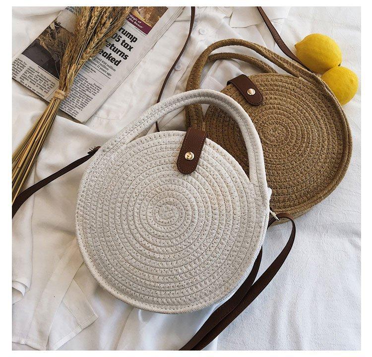 New hemp rope round woven bag beach bag shoulder fashion simple female bag leisure vacation woven bag NHGA200626