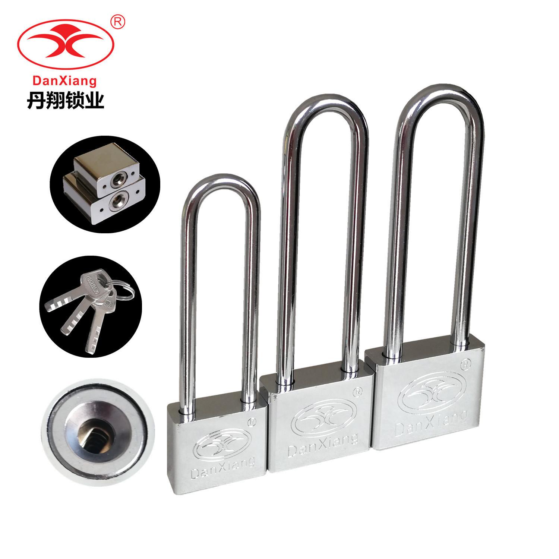 丹翔40mm家用门柜子锁特长加长梁长柄长头插锁白钢挂锁 加长挂锁