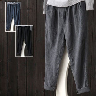 Original women's literary fan cotton and linen women's trousers spring loose and thin casual linen harem cropped trousers