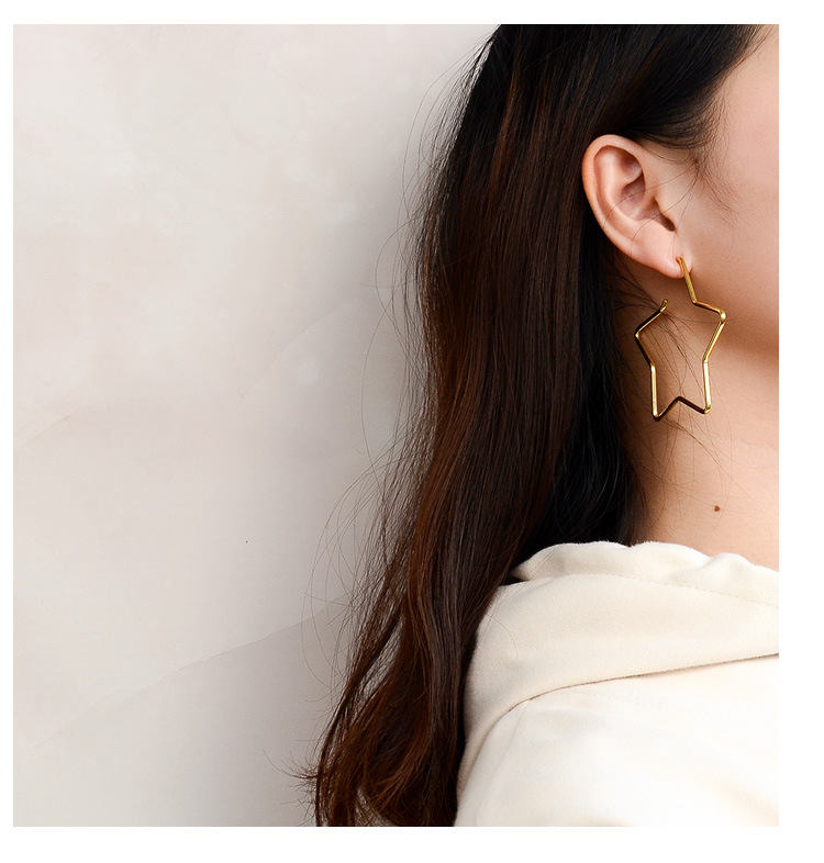 Titanium&Stainless Steel Fashion Geometric earring  (Five-pointed star version 6cm rose alloy)  Fine Jewelry NHOK0518-Five-pointed-star-version-6cm-rose-alloy