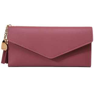 Women's new wallet 2021 long style large-capacity hand holding trend simple multi-card slot lychee pattern card bag wallet