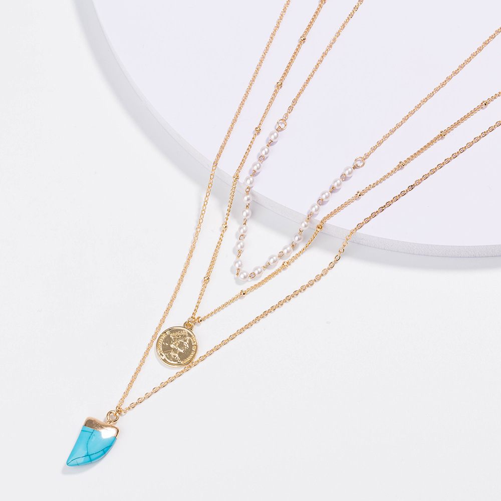 fashion turquoise horn shape pendant  multi-layer necklace NHAN251913