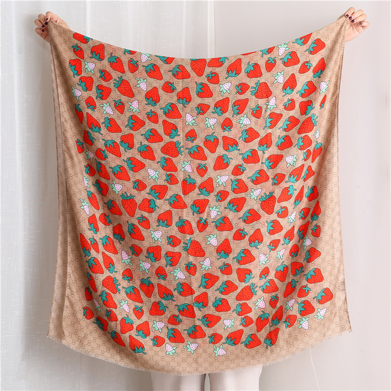 New cute strawberry cotton scarf long sunscreen shawl NHGD171697