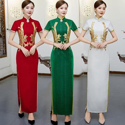 Cheongsam show high end performance clothing changnu cheongsam dress