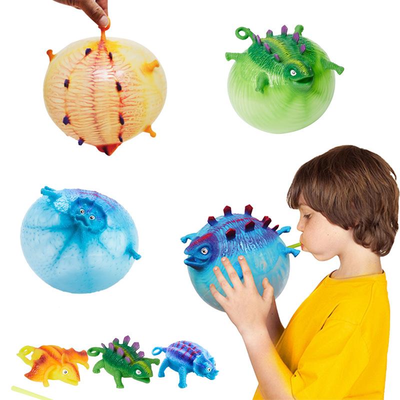 亞馬遜爆款創意新奇特玩具TPR可吹氣動物發泄玩具充氣恐龍波波球