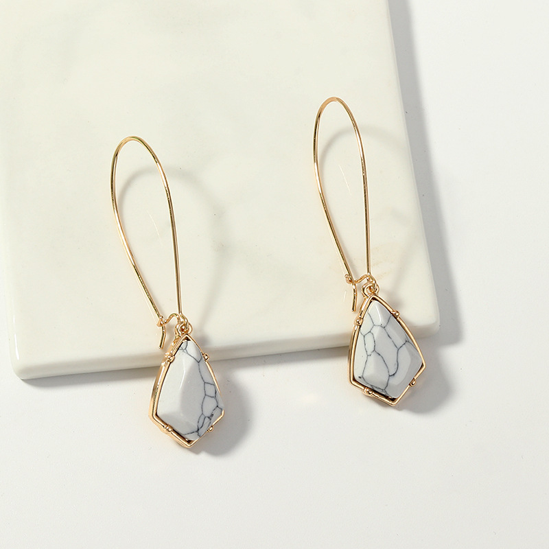 Womens Geometry Electroplating Inlaid turquoise Alloy Earrings NHNZ122103