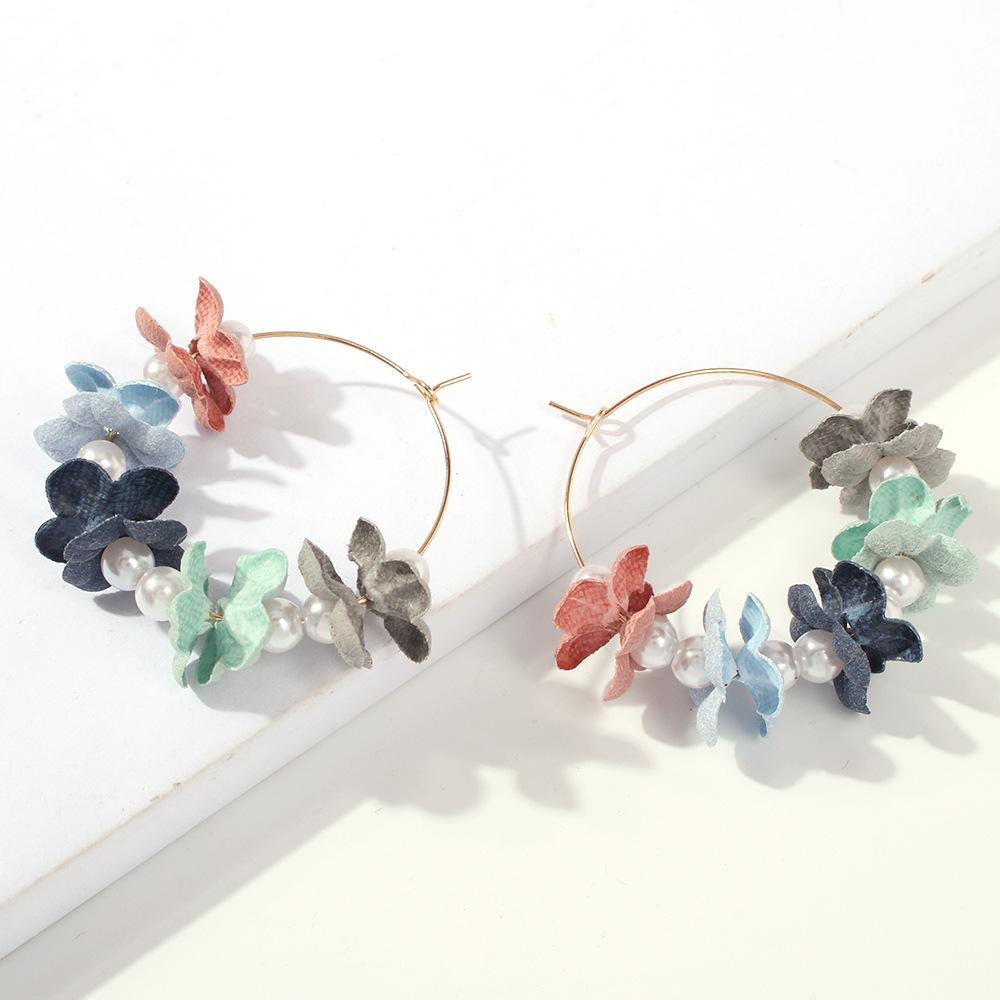 Pendientes de flores grandes de tela dulce NHMD149054