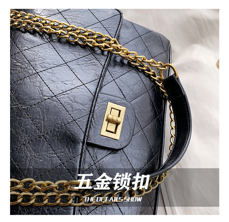 Small fragrance rhombic chain small square bag new simple fashion solid color lock single shoulder Messenger bag NHPB170801