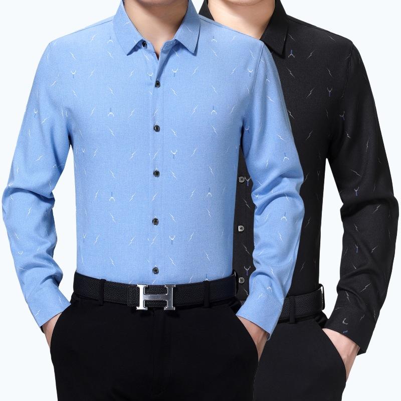 秋季新款中年爸爸装长袖衬衫薄款羊绒打底衫宽松大码男士休闲衬衣