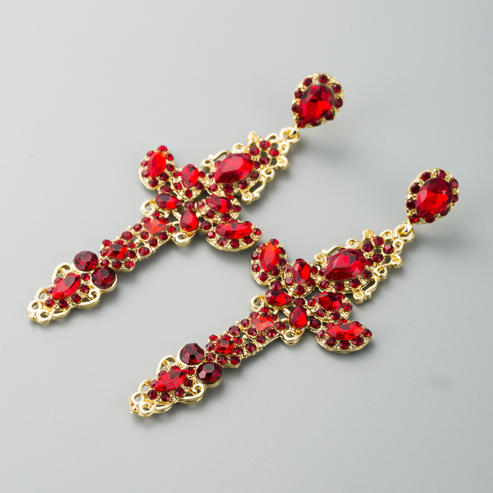 European and American popular hot selling ladies earrings temperament alloy hollow cross with rhinestones long autumn and winter net red earrings NHLN190172