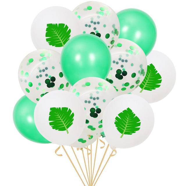 火烈鸟龟背叶亮片乳胶气球套装 夏季派对装饰场地布置飘空气球