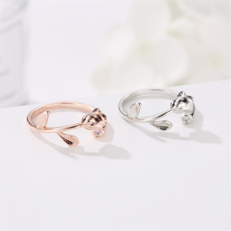 Fashion rings for women open ring rose simple diamond ring NHDP203048