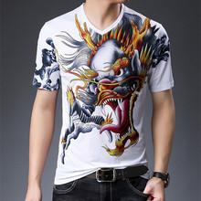 夏季男士新款花式V领短袖T恤搞怪个性龙头动物头像图案印花半袖衫