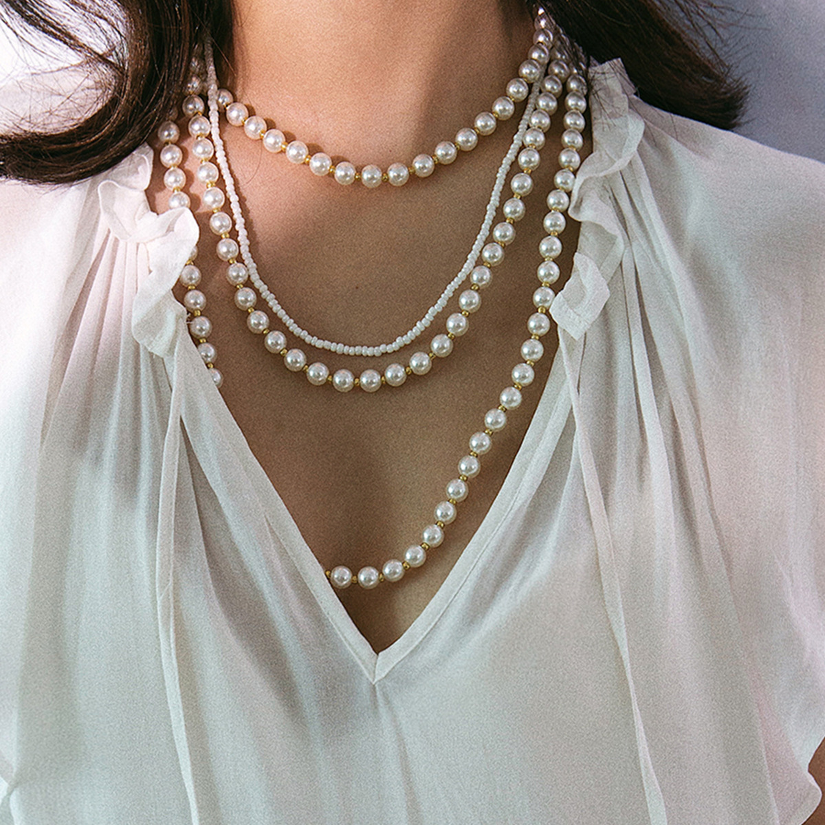 Multi-layer tassel beads rice beads necklace NHXR141712