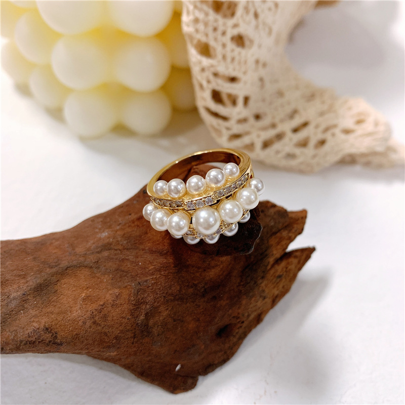 Luxury Ring Microset Diamond with Pearl Ring Copper NHYQ177308