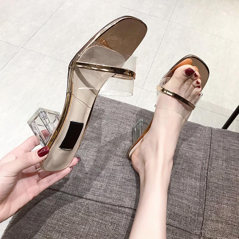 網紅同款拖鞋高跟女2019夏新款外穿時尚一字拖百搭水晶粗跟涼拖鞋