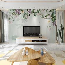 定制北欧手绘田园花藤沙发电视背景墙壁画简约时尚装饰影视墙壁纸