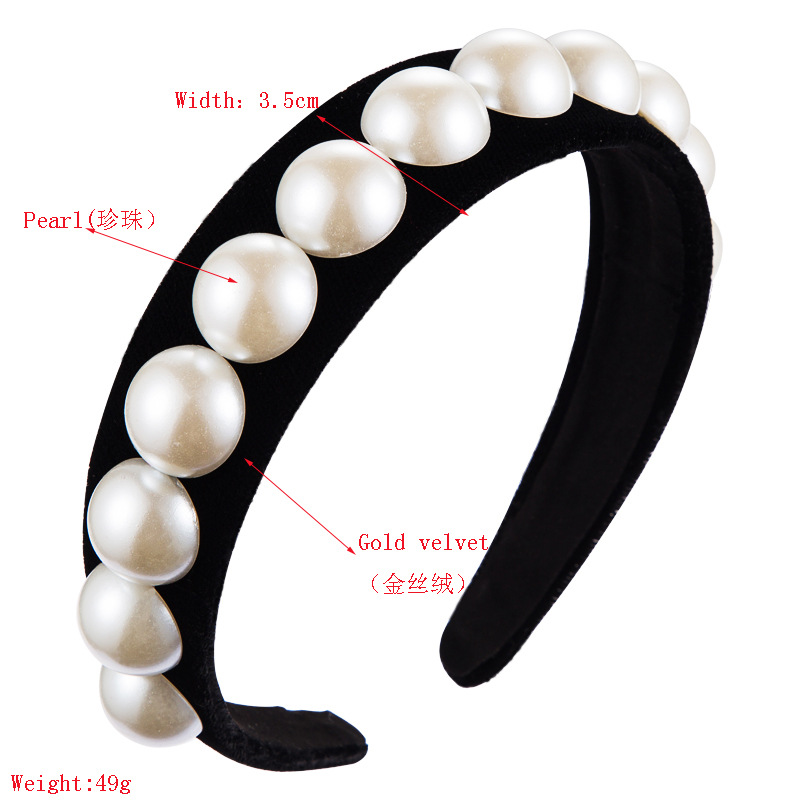 Vintage wind Baroque pearl headband female court wind gold velvet headband hair accessories NHLN177040
