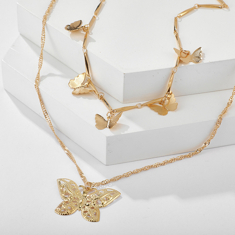Bohemian fashion alloy size butterfly pendant double necklace necklace women NHGY183795