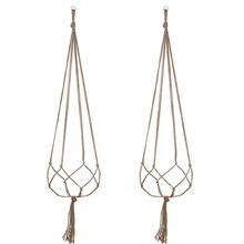 园艺绿化植物挂架花盆网兜 麻绳悬挂吊篮室内室外挂钩装饰3件套