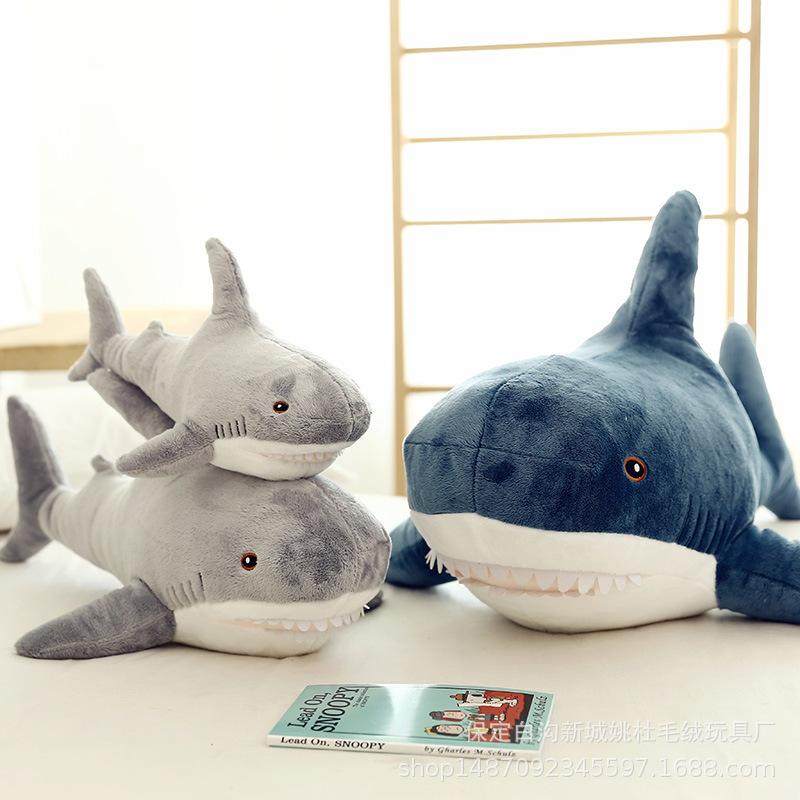2020新款创意玩具可爱鲨鱼公仔卧室沙发装饰鲨鱼抱枕毛绒玩具批发