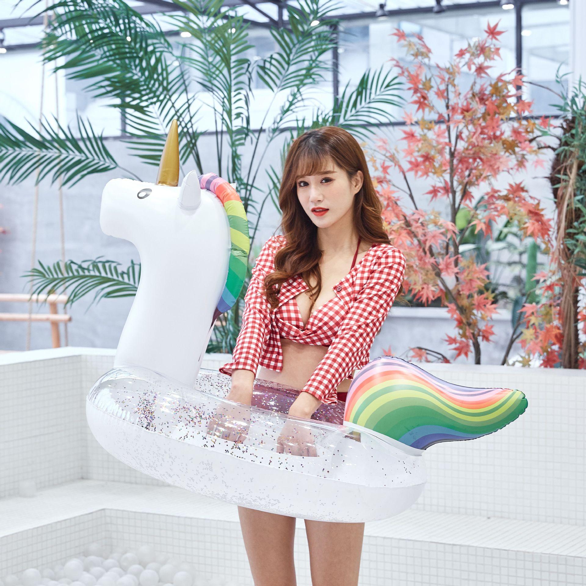 Water supplies PVC thick animal unicorn floating row swim ring NHWW134864