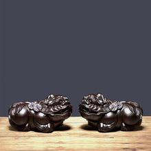 黑檀木雕貔貅擺件一對創意家居客廳裝飾紅木工藝品實木手把件批發