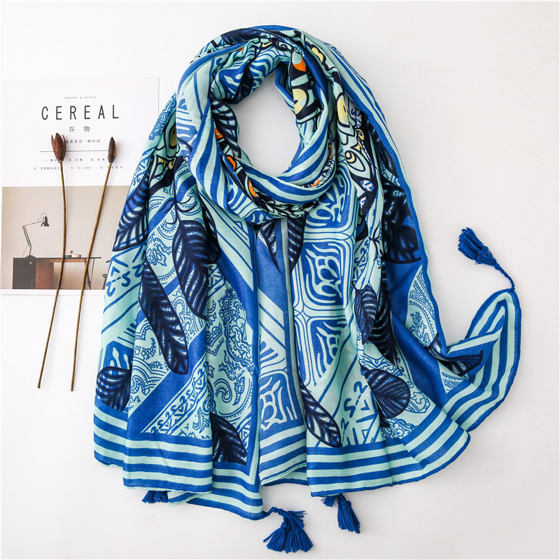 Vacation tassel ethnic style literary cotton and linen scarf NHGD158417