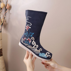 Women Chinese hanfu fairy dress shoes princess stage performance cosplay boots Antique soap boots with bow shoes Embroidered cloth boots for female