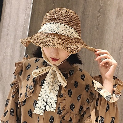 Foldable handmade straw hat with large brim and Beach Hat