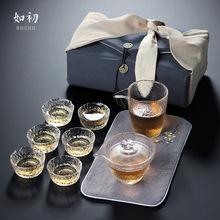 日式功夫茶具套装初雪玻璃盖碗茶杯耐高温玻璃套组锤目纹整套茶具