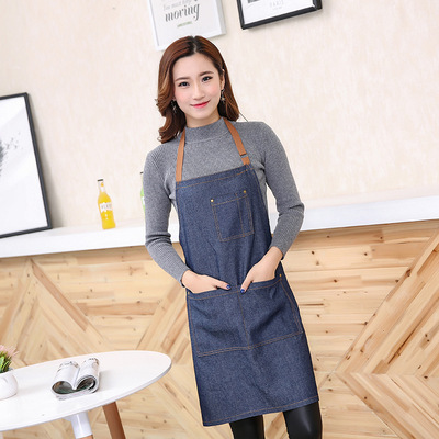 Chef overalls Apron custom logo kitchen adult coffee shop western restaurant manicure work clothes apron woman