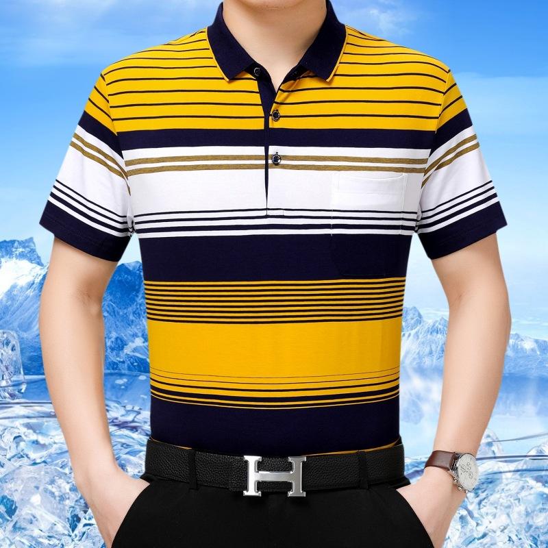 短袖男士翻领打底衫男装体恤条纹T恤男式2019夏季新款男士短袖t恤