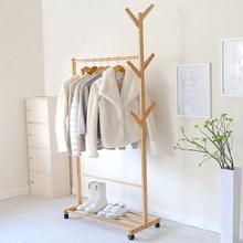 衣帽架门口晾衣架加厚挂架卧室便携全实木少女落地客厅韩版室内