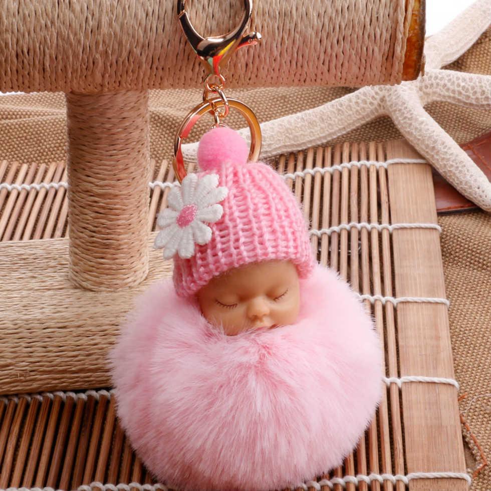 hot-sale fashion new quality cute sleeping doll fur ball key ring Meng baby coin purse key pendant wholesale NHDI216249