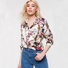 2019速卖通ebay亚马逊新款女装欧美跨境热卖锁链印花长袖休闲衬衣