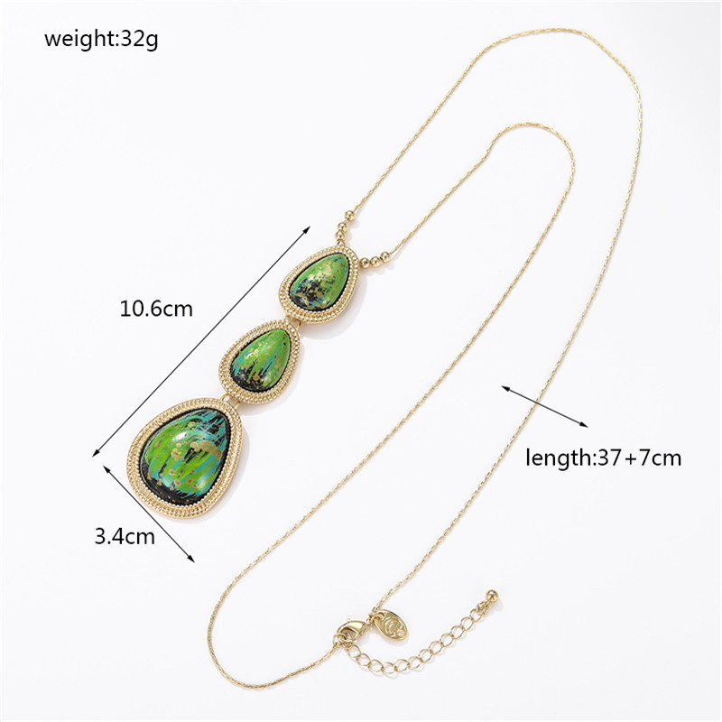 Wholesale fashion jewelry retro new drop gemstone combination geometric clavicle chain necklace wholesale NHZU181270