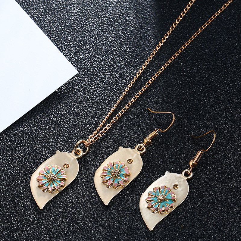 Alloy Fashion Flowers necklace  (Necklace yellow)  Fashion Jewelry NHKQ2393-Necklace-yellow