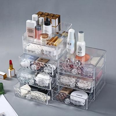防塵透明桌面化妝品收納盒 抽屜式化妝品收納盒 透明化妝盒