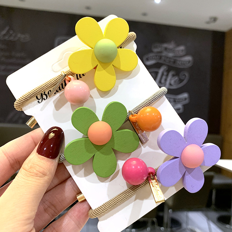 Korean cute hair rope jelly-colored girl tying head rope colorful flower rubber band hair ring headdress NHSA201191