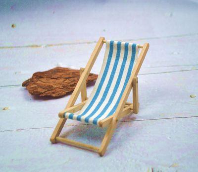 1;12微缩贪食玩娃娃屋过家家玩具摆件迷你折叠沙滩椅子帆布休闲椅